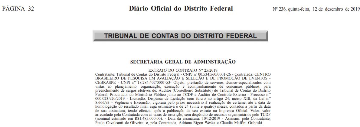Concurso TCDF: Extrato de contrato