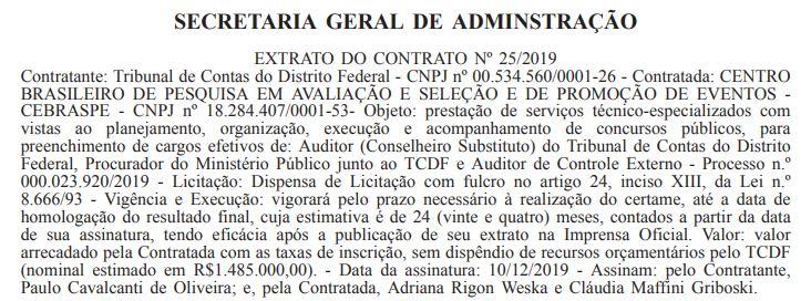 Concurso TCDF: Extrato de Contrato.