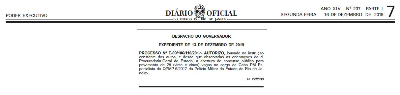 Concurso PMERJ Cabo: Autorizado!