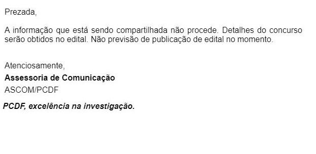 Concurso PCDF Agente: nota da Assessoria de Comunicação.