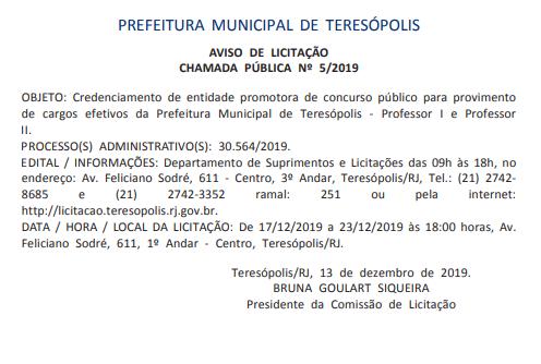 Concurso Prefeitura de Teresópolis RJ: banca em definição!