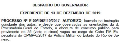 Autorização para 25 vagas de técnico de enfermagem do concurso PMERJ saúde