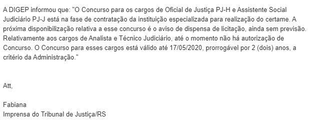 Concurso TJ RS: nota encaminhada pela Assessoria de Imprensa do órgão.