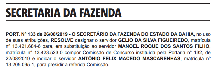 Concurso SEFAZ BA: mudança comissão!