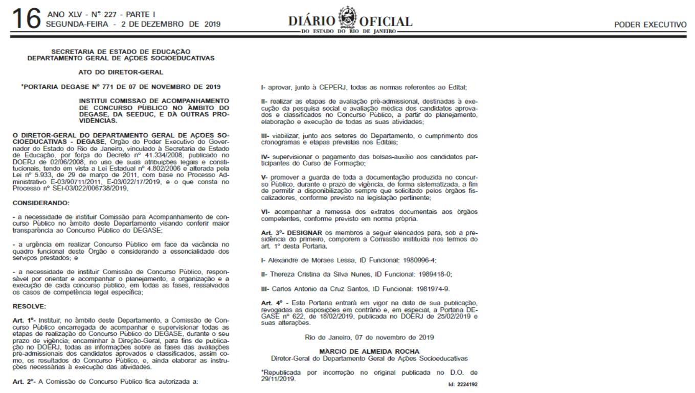 Concurso Degase RJ: nova comissão.