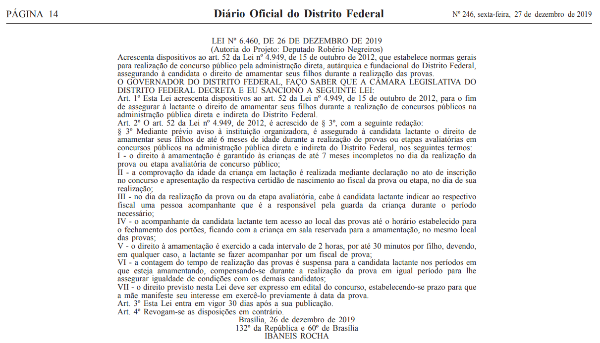 Direito de amamentar: Lei publicada no Diário Oficial do Distrito Federal