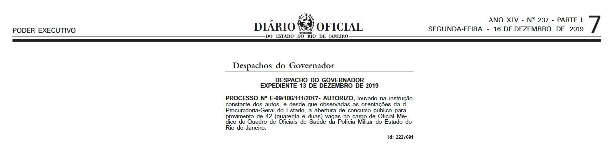 Concurso PMERJ Saúde: Autorizado!