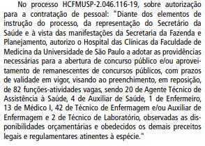 Autorização do concurso Hospital das Clínicas da USP