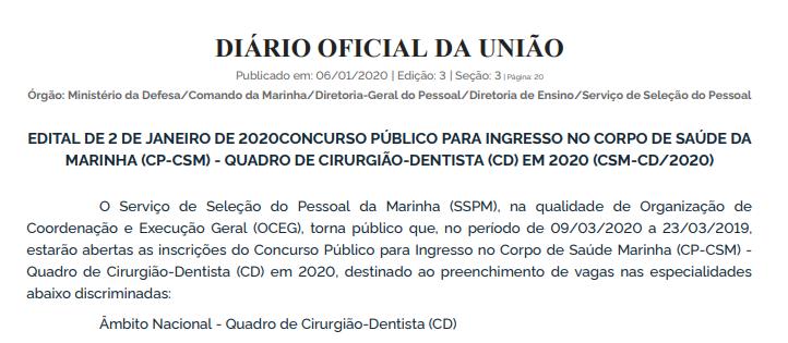Edital Marinha Saúde: Quadro de Cirurgião-Dentista