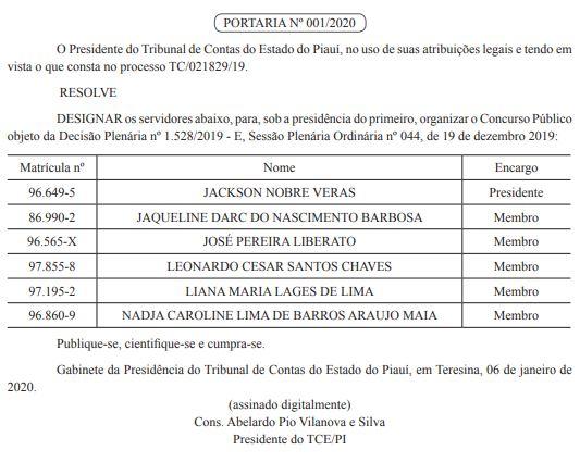 Concurso TCE PI: Comissão Formada