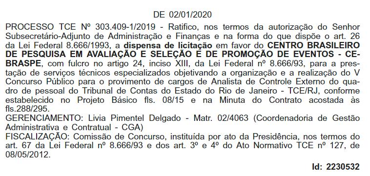 Concurso TCE RJ: Extrato de contrato com Cebrasp