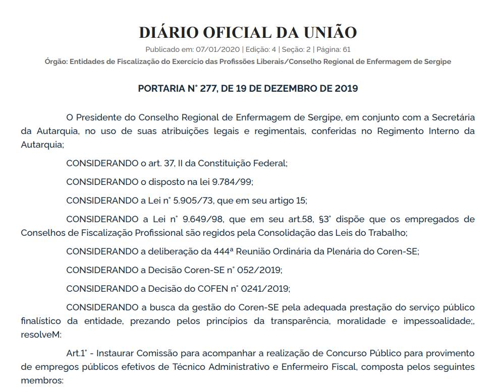 Concurso Coren SE: comissão organizadora definida!