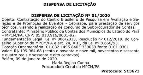 Concurso MPCM PA: banca definida.