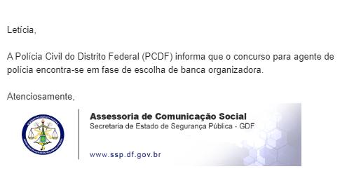 Concurso PCDF Agente: banca em definição!