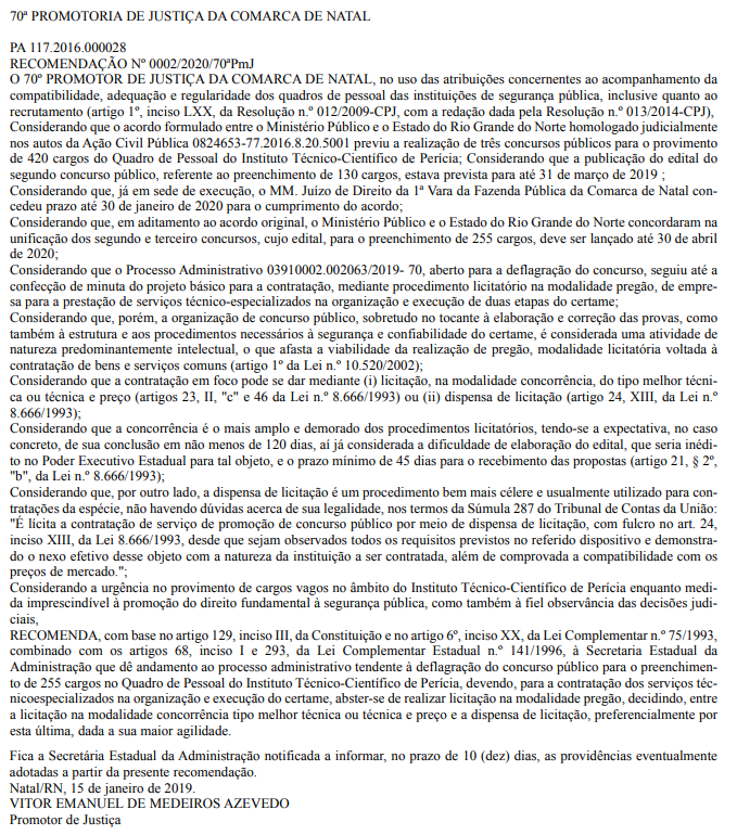 Concurso ITEP RN: MP recomenda edital logo!