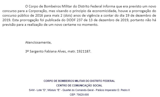 Concursos Bombeiros DF: nota da Assessoria de Imprensa.