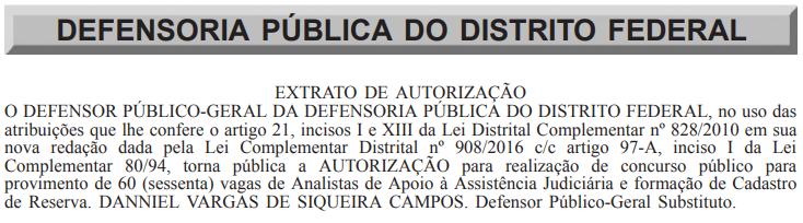 Concurso DPDF: autorização para novo edital.