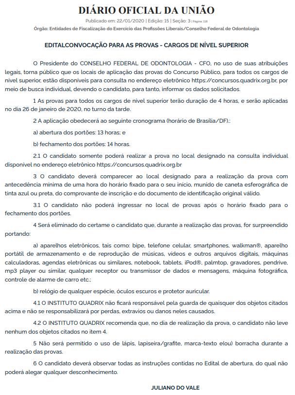 Concurso CFO: edital de convocação para a prova objetiva