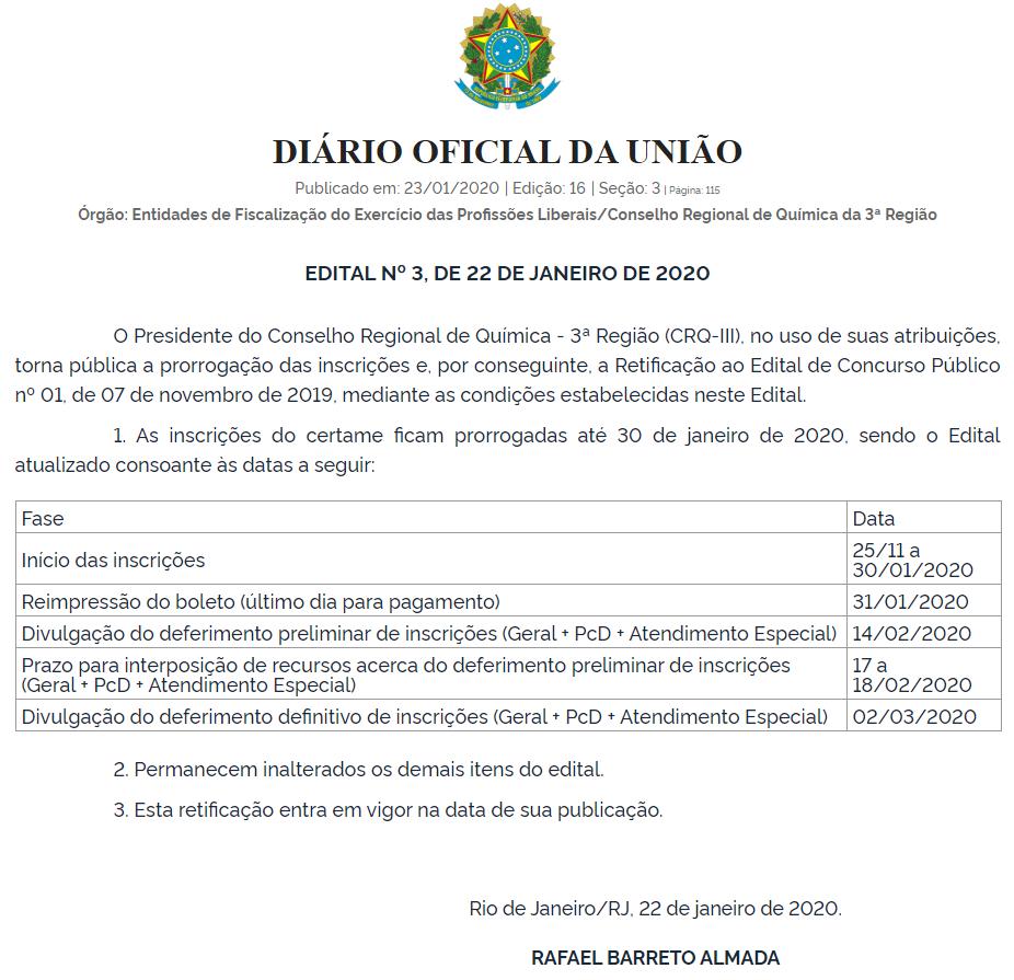 Concurso CRQ RJ: Inscrições prorrogadas!