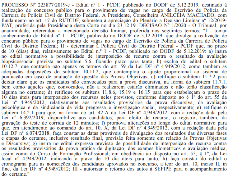 Concurso PCDF: TCDF recomenda realizar retificações no edital.