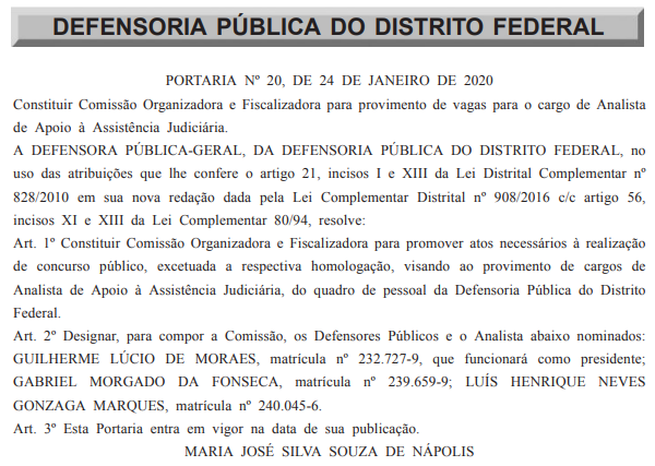 Concurso DPDF: comissão organizadora e fiscalizadora.