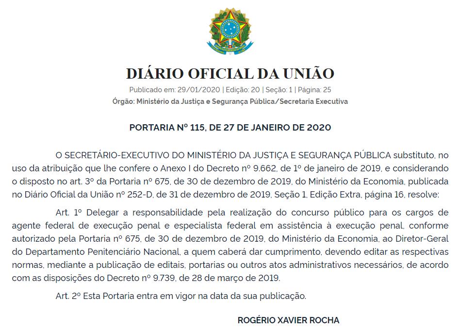 Concurso DEPEN: Ministério da Justiça dele organização do certame