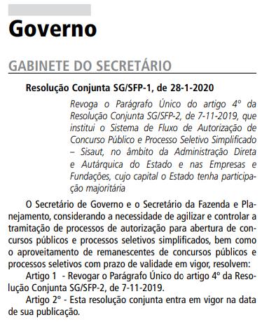 Concursos São Paulo: resolução conjunta visa dar celeridade aos certames