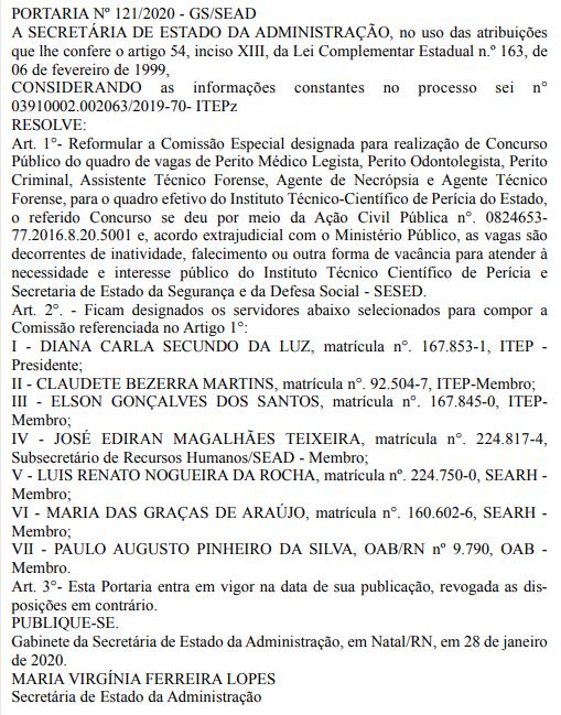 Concurso ITEP RN: nova comissão formada.