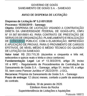 Concurso Saneago: UFG é a banca organizadora.