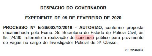 Concurso Polícia Civil RJ: nova autorização para Investigador.