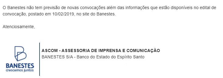 Concurso Banestes: resposta ASCOM!