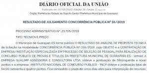 Concurso Prefeitura de Guarapari ES: INCP pode ser a banca!