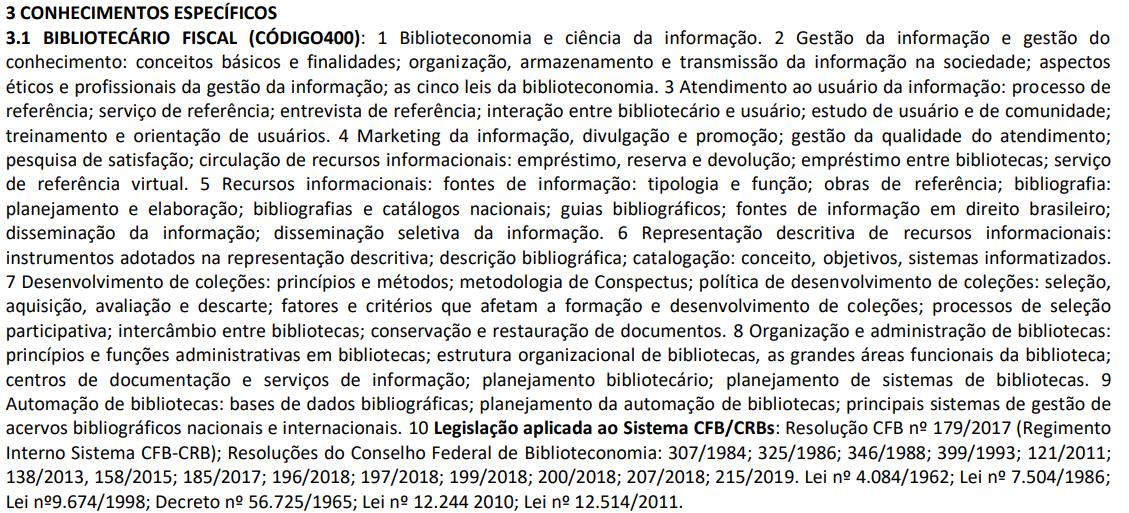 edital lista conhecimentos necessários para prova do CRB 1
