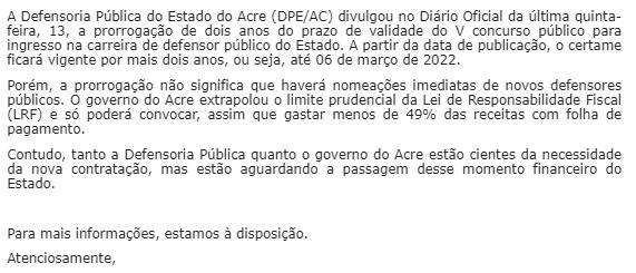Concurso DPE AC: resposta da Assessoria!