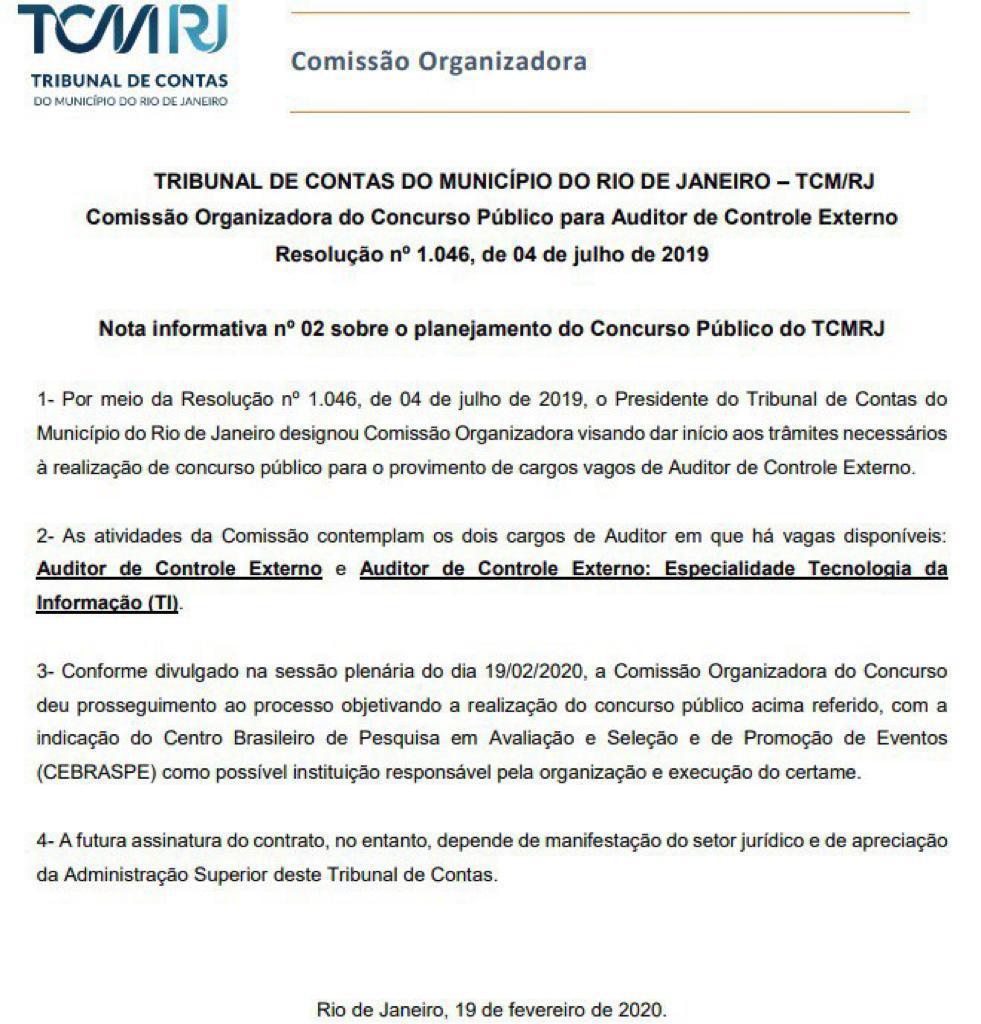 concurso TCM RJ resolução CEBRASPE