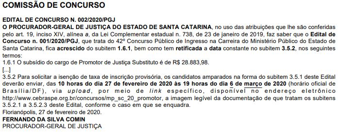 Concurso MP SC Promotor: errata do edital.