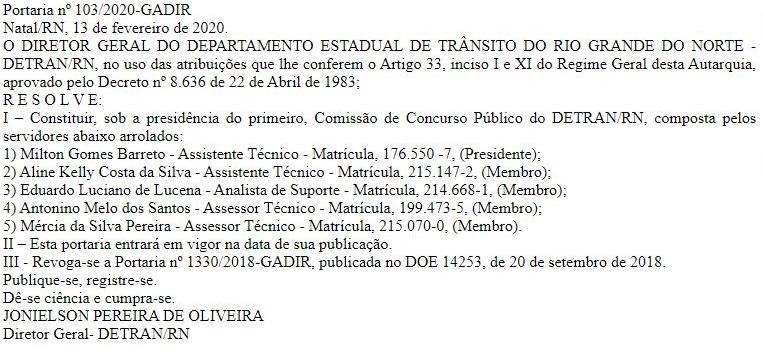 Concurso Detran RN: imagem contendo os nomes dos membros da comissão.