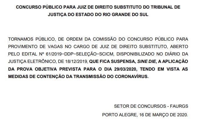 Imagem informando sobre a suspensão da prova objetiva do concurso TJ RS Juiz
