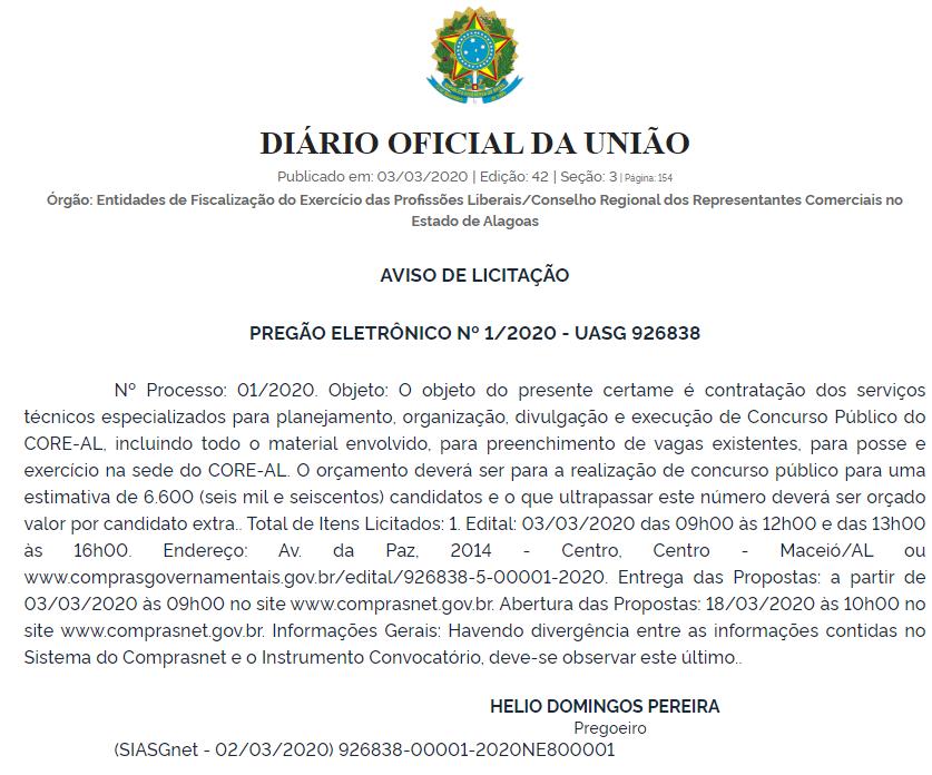 Concurso CORE AL: Pregão Eletrônico para contratação de banca!