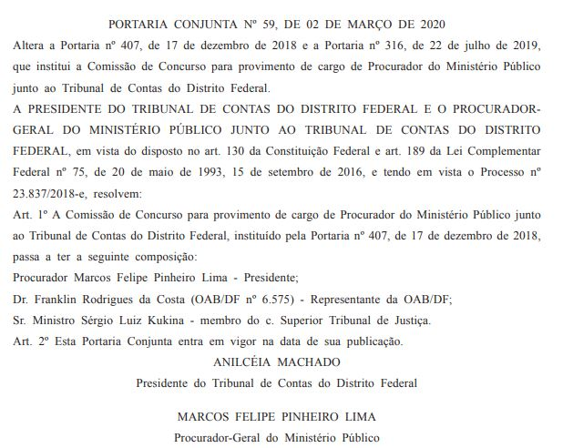 imagem contendo informações da alteração da Comissão de concurso para o cargo de Procurador.