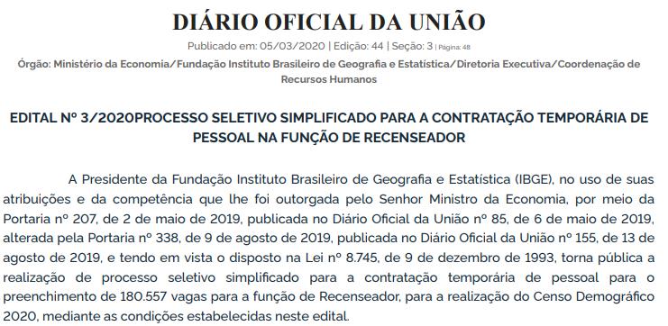 Extrato de edital IBGE publicado!
