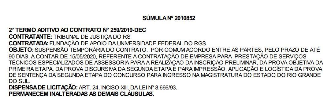 Documento publicado no Diário Eletrônico de Justiça do TJ RS