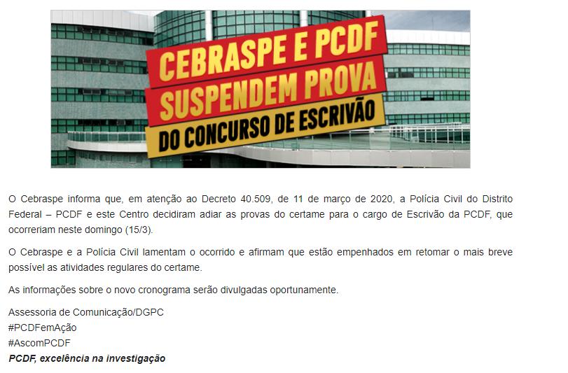 Concurso PCDF: nota oficial!
