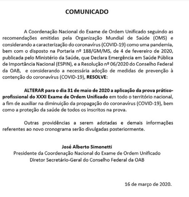 Prova OAB Comunicado adiamento
