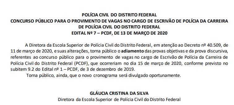 Comunicado de suspensão de provas do concurso PCDF Escrivão