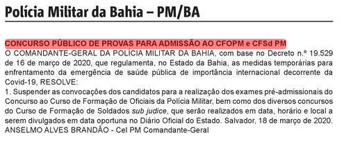 Concurso PM BA: suspenso!