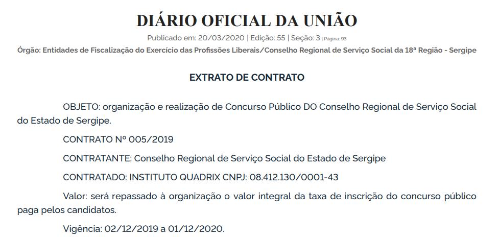 Concurso CRESS SE: extrato de contrato com a banca!