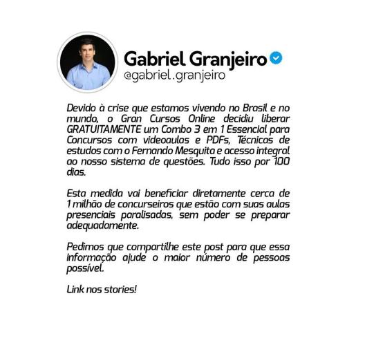 Coronavírus: reprodução/instagram Gabriel Granjeiro