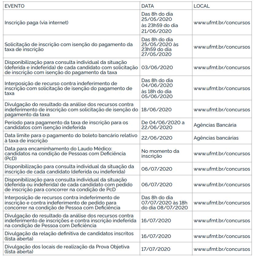 Edital UFMT: Novo Calendário