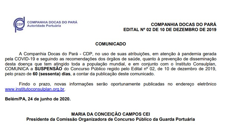 concurso cdp - comunicado de suspensao
